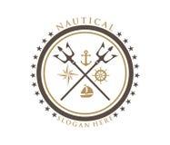 Nautical navy cruise vector logo design. Trident nautical navy cruise vector logo design Royalty Free Stock Image