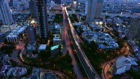 Trident of Sathorn Road at night, Taksin Bridge, Bangkok City, Thailand.  stock video footage