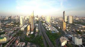 Trident of Sathorn Road at sunset, Taksin Bridge, Bangkok City, Thailand.  stock video