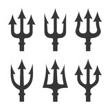 Trident Silhouette Set on White Background. Vector Stock Photo