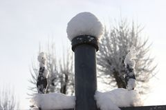 Trident with snow caps. Winter patterns. Frozen air around. stock image