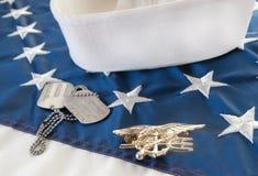 Tridente do SELO da marinha na bandeira Fotos de Stock