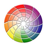 Tridimensional color wheel concept on white background Royalty Free Stock Photo