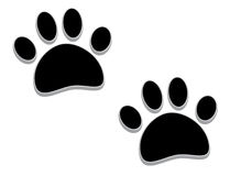 Tridimensional paw prints. A pair of tridimensional animal footprints Royalty Free Stock Images