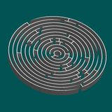 Tridimensional round maze stock images
