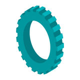 Tridimensional silhouette blue gear wheel icon Stock Image