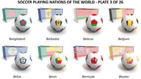 Calcio che gioca le nazioni del mondo Immagini Stock