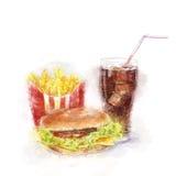 Trieb auf weißem Hintergrund Großer Hamburger, Eiskolabaum und Pommes-Frites Stockfotos