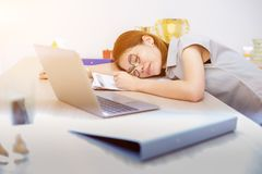Tried and exhausted for work in business. Need to relax and recreation royalty free stock image