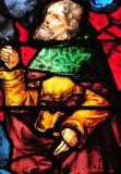 Triel sur Seine, France - april 3 2016 : church. Triel sur Seine, France - april 3 2016 : historical stained glass window in Saint Martin church royalty free stock photography