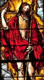 Triel sur Seine, France - april 3 2016 : church. Triel sur Seine, France - april 3 2016 : historical stained glass window in Saint Martin church stock photos