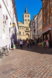 TRIER, GERMANY - APRIL 7, 2008:  Tourists walk near Roman Cathed Royalty Free Stock Photography