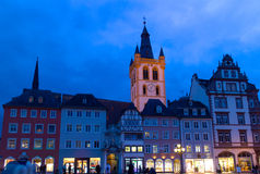 Trier, Germany. Central square in Trier, oldest city of Germany, night scene Stock Images