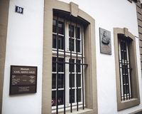 Commemorative plaque on the facade of Karl Marx house. TRIER, GERMANY - FEB 21, 2015: Side view of house were Karl Marx, the German philosopher, economist Royalty Free Stock Photography