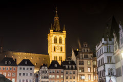 Trier germany hauptmarkt at night Royalty Free Stock Image