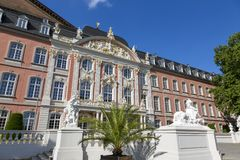 Prince-elector Palace in the center of Trier. Trier, Germany - July 06, 2018: Prince-elector Palace in the center of Trier royalty free stock photo