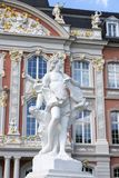 Sculptures in front of the Prince-elector Palace in the center of Trier. Trier, Germany - July 06, 2018: Sculptures in front of the Prince-elector Palace in the royalty free stock photo