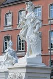 Sculptures in front of the Prince-elector Palace in the center of Trier. Trier, Germany - July 06, 2018: Sculptures in front of the Prince-elector Palace in the stock photography