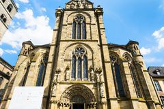 Facade of Cathedral of Trier. TRIER, GERMANY - JUNE 28, 2010: facade of Cathedral of Trier in summer. The Dom is the oldest cathedral in Germany, first building Royalty Free Stock Photography