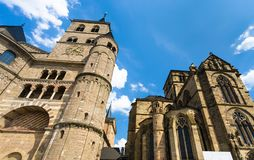 Towers of Cathedral of Trier. TRIER, GERMANY - JUNE 28, 2010: towers of Cathedral of Trier in summer. The Dom is the oldest cathedral in Germany, first building Royalty Free Stock Image