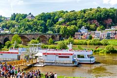 Trier - ship mooring in front of the oldest bridge in Germany Augusta Treverorum Stock Photos