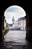 Trier, Germany, view through Porta Nigra to the city center Royalty Free Stock Image