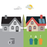 Trier. Home with and without recycling actions Stock Photo