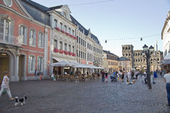 Trier Market Square. Germany. Tourists and local People at the Market Square (Hauptmarkt) in Trier. Trier is the oldest city of Germany - founded on 16 bc. Its a royalty free stock image