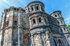 "Trier, Porta Nigra – The ""Porta Nigra"", the Roman city wall Black gate in Trier, Germany Royalty Free Stock Photo"