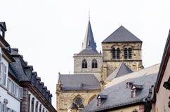 Trier, Tyskland, gamla byggnader och domkyrka Royaltyfri Bild