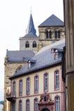 Trier, Tyskland, gamla byggnader och domkyrka Arkivbilder