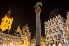 TrierTyskland hauptmarkt på natten Fotografering för Bildbyråer
