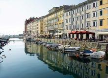 TRIEST, ITALIEN - 1. JULI 2014: Ansicht des Kanals groß lizenzfreie stockbilder