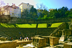 Triest, Italy - school kids comedy rehearsal at Teatro Romano Royalty Free Stock Image