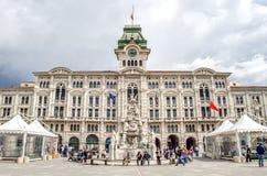 Triest-Marktplatz-UNITA-Rathaus friuli venezia Giulia Italien lizenzfreie stockfotografie