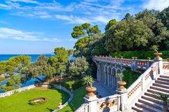 Trieste, the architectures and arts. Italy, Trieste, the garden of the Miramare castle on the seafront Stock Images