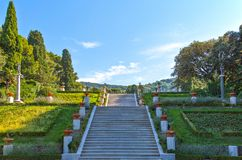 Trieste, the architectures and arts. Italy, Trieste, the garden of the Miramare castle on the seafront Royalty Free Stock Images
