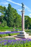 Trieste, the architectures and arts. Italy, Trieste, the garden of the Miramare castle on the seafront Stock Image