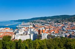 Trieste, the architectures and arts. Italy, Trieste,view on the city from the San Giusto castle Royalty Free Stock Image