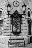 Trieste - bänk i Piazza di Cavana Arkivbilder