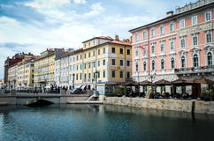 Trieste canal grande restaurants Royalty Free Stock Photography