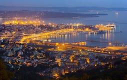 Trieste Cityscape i sen afton Royaltyfri Bild