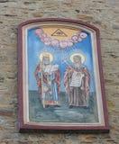 TRIESTE ITALIEN - December 19: Mosaik av St Michael på fasaden av den serbiska ortodoxa kyrkan i Trieste på Fotografering för Bildbyråer