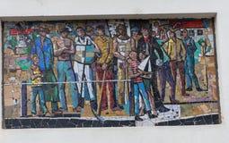 TRIESTE ITALIEN - Juli 22: Mosaik av St Michael på fasaden av den serbiska ortodoxa kyrkan i Trieste på Juli 22 Royaltyfria Bilder