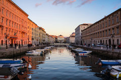 Trieste, Italy. Church of St. Antonio Thaumaturgo with Grand Canal Royalty Free Stock Image
