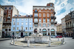 Trieste, Italy circle fountain in the Ponterosso square Stock Image