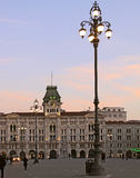 Trieste, Italy - Citi Hall in Union of Italy square at twilight Stock Photos