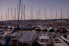 Trieste,Italy - city panorama from the harbor at twilight Royalty Free Stock Photo
