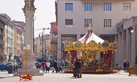 Trieste, Italy - Exchange Square (Piazza della Borsa) with merry Royalty Free Stock Photos