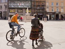 Trieste, Italy - Exchange Square (Piazza della Borsa), people ch Stock Images